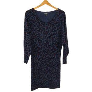 Betsey Johnson Purple Leopard Print Sweater Dress